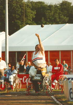 Ernie Guild competing at the Stoke Mandeville Games