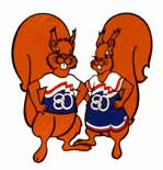 First Paralympic Mascots of 2 squirrels wearing sports kit with the Arnhem 1980 logo