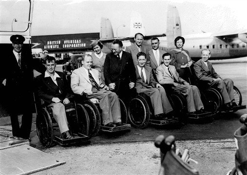 British athletes photographed in front of a British Airways plane about to fly out to the Rome 1960 Games.