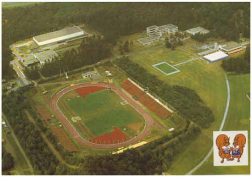 Arnhem 1980 Games postcard showing the venue, the Papendal Sports Centre, from the air
