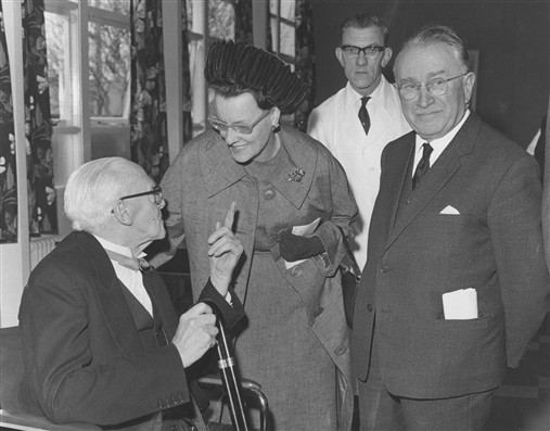 Ludwig Guttmann and Lady Hamilton Smith at the opening of the Rehabilitation Hostel at Stoke Mandeville in 1970