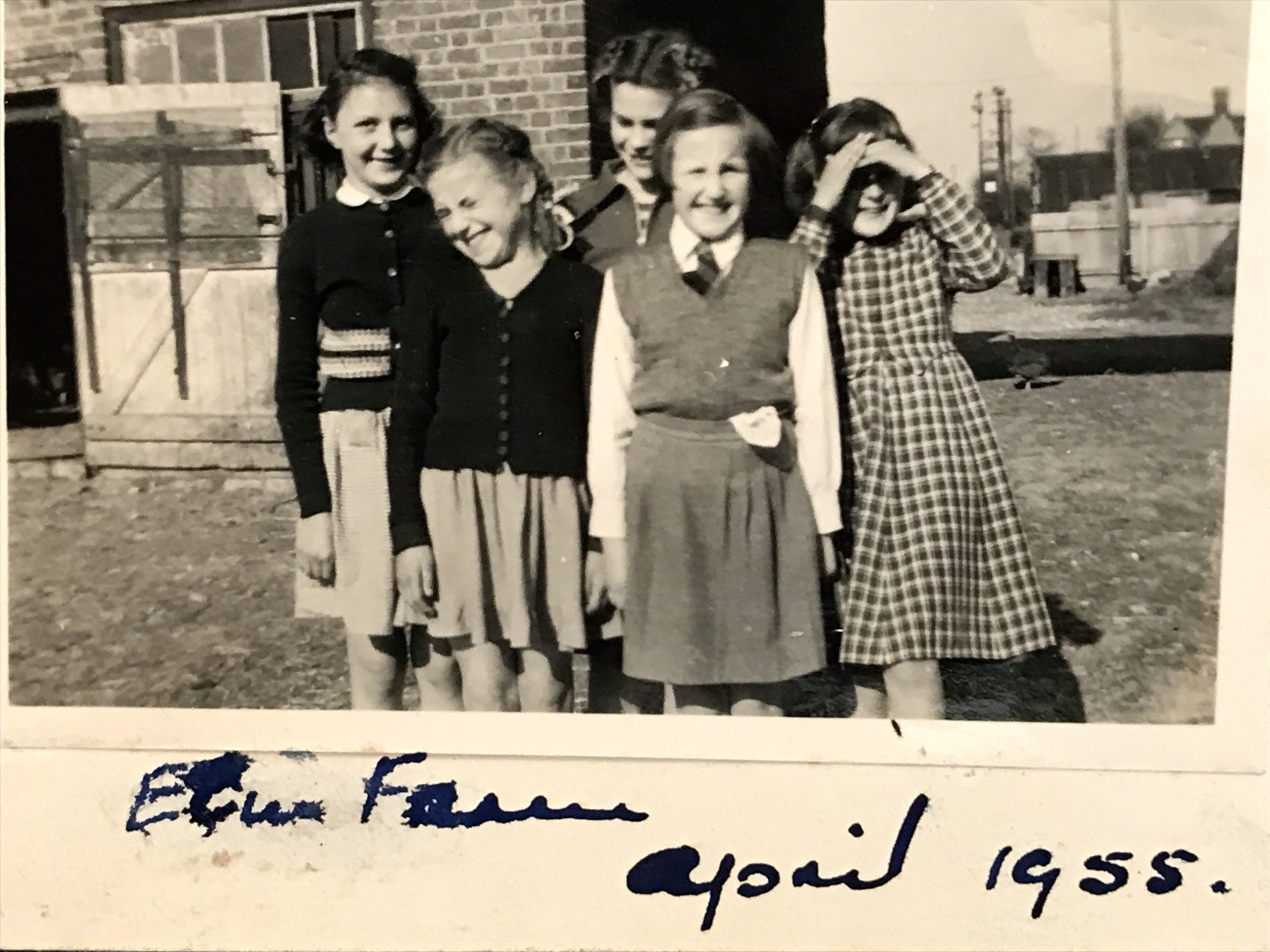 Sunday School girls visiting Elm Farm in 1955