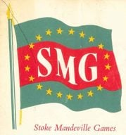 Front cover of the programme for the Stoke Mandeville 1956 Games with an illustration of a flag