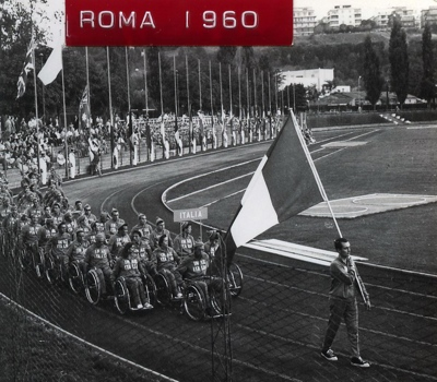The Italian Paralympic Team at the opening ceremony of the Rome 1960 Summer Paralympics