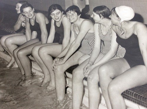 Monica competing for Portsmouth Northsea Swimming Club at age 13.