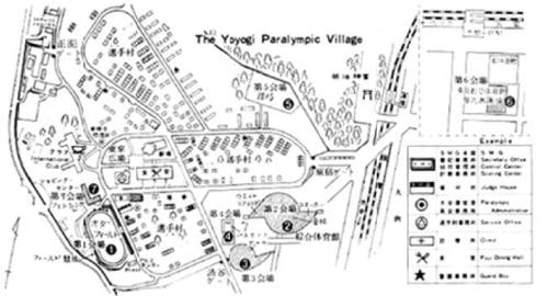 Copy of the map of the Yoyogi Paralympic Village