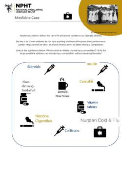 KS3 medicine cabinet activity sheet