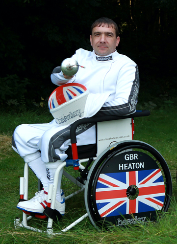 David Heaton in ParalympicGB fencing kit for London 2012 Paralympics