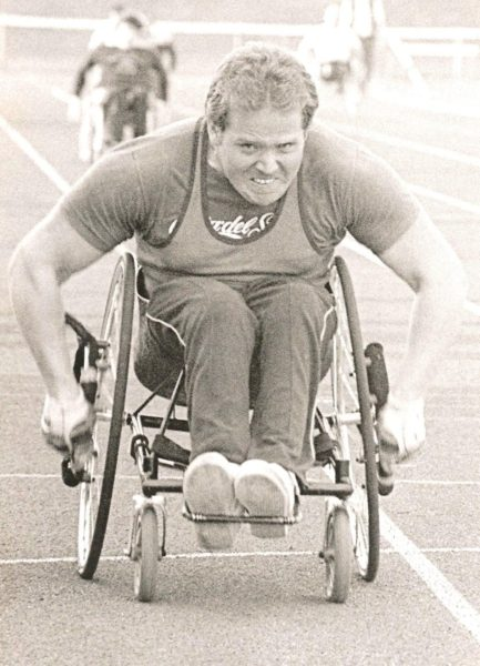 Paul Cartwright in a wheelchair sprint in 1984