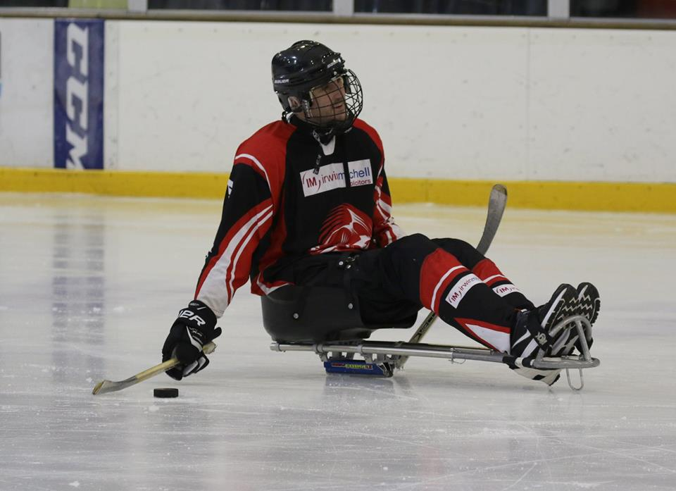 Dave from The Peterborough Phantoms Sledge Hockey Club on the ice