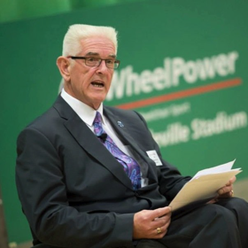 Kevan Baker, Paralympian, speaking at a WheelPower event.