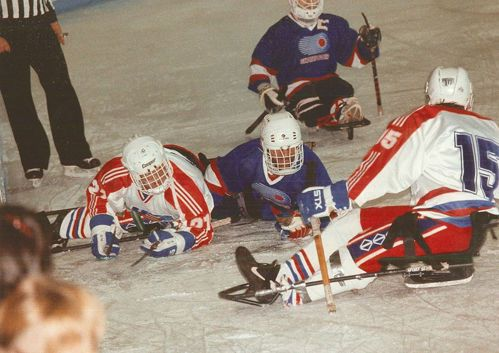 Para ice hockey game at the Lillehammer 1994 Winter Paralympics