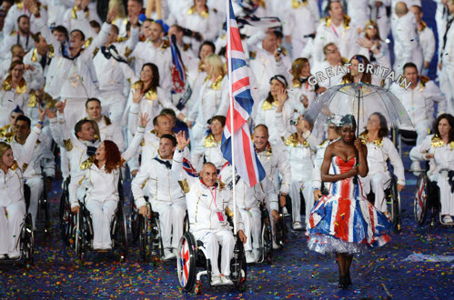 Peter Norfolk had the honour of leading the ParalympicGB team into the Opening Ceremony as the flagbearer at London 2012