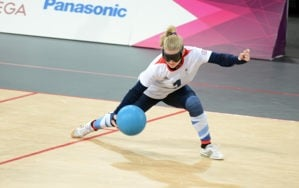 Goalball player in action
