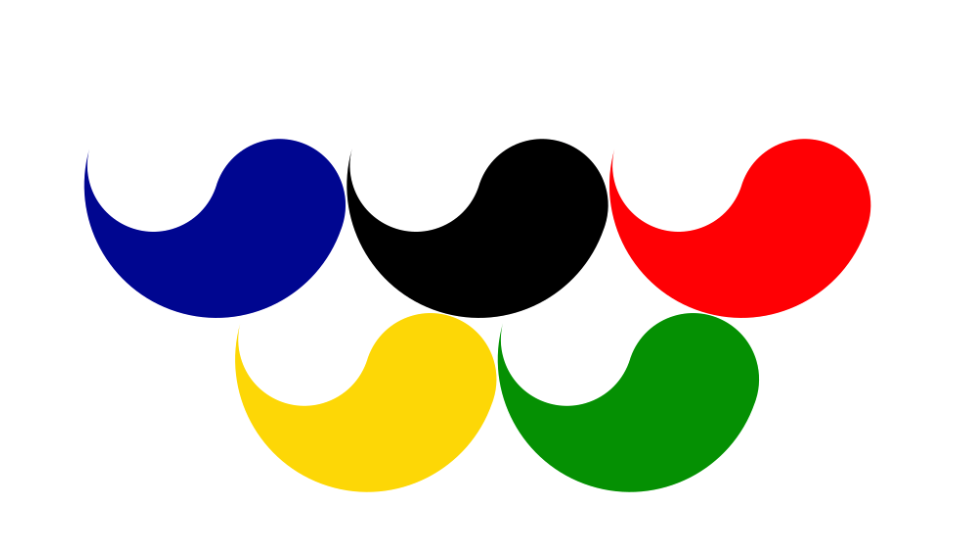 Logo of the Paralympic Games with 5 Korean Tae-Geuks in 5 different colours used from 1988 until 1994