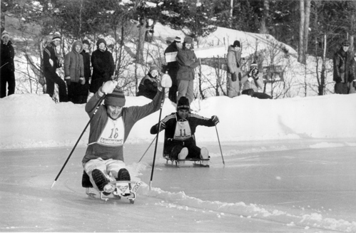 Ice sledge racing at the Geilo 1980 Winter Games