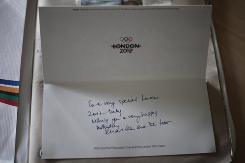 Card congratulating the birth of baby Daniel from the Olympic and Paralympic Games Organising Committee