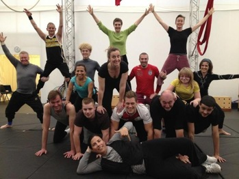 Robert Barrett training at Circus School for the opening ceremony at London 2012 Paralympics