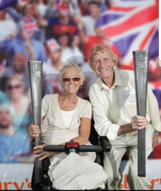 Yvonne Matts with her husband and coach Peter, torchbearers at London 2012