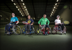 Four members of the Better Disability tennis programme.