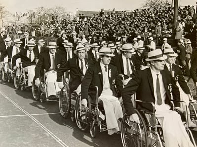 The Great Britain Paralympic Team parade at the Tokyo 1964 Paralympic Games opening ceremony