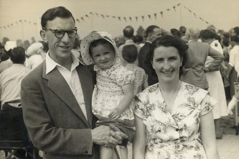 Mary and Jimmy Brennan, both nurses at the hospital, with their daughter watching the 1955 Games at Stoke Mandeville.