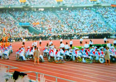 Team GB entering the stadium at the 1992 Barcelona Paralympics
