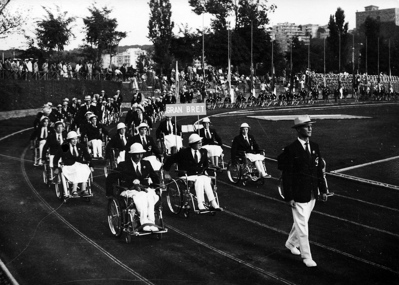 The Great Britain Paralympic Team at the opening ceremony of the Rome 1960 Summer Paralympics