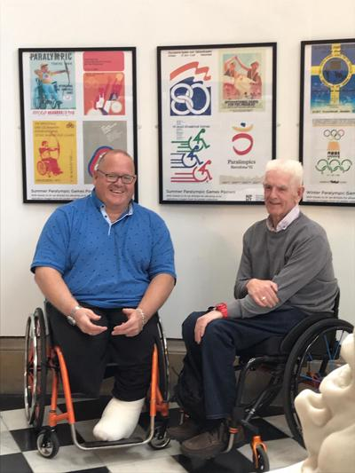 Paralympians Paul Cartwright and Kevan Baker at the Paralympic Heritage stories from Bradford exhibition