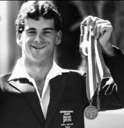 Tony Griffin with his winning medals at the 1984 New York Games