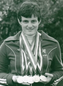 Monica with her 4 gold and 1 silver medals from the Arnhem 1980 Paralympics