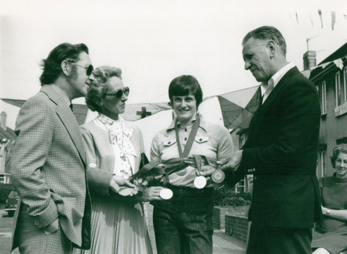 Monica with Portsmouth Lord Mayor and Lady Mayoress, Jim Ferneyhough (coach) at a street party organised the day after she returned from the Toronto 1976 Games