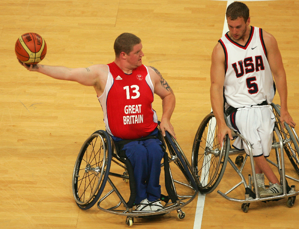 Peter Finbow competing in Wheelchair Basketball