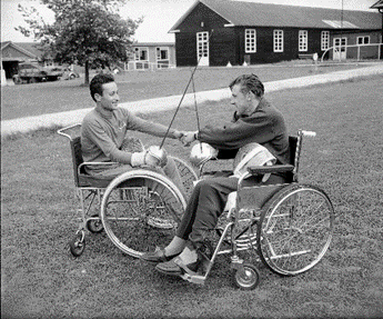 Fencing training for the 1958 Stoke Mandeville Games