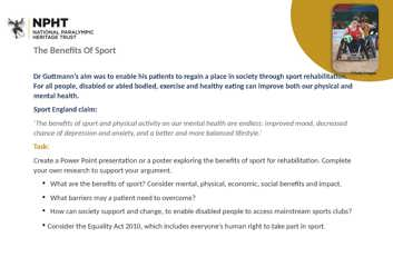 KS3 Benefits of sport task sheet
