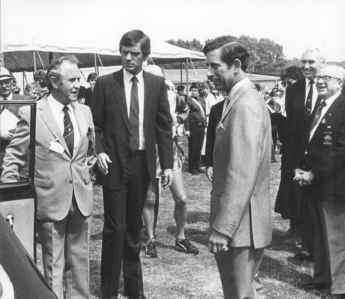Monochrome picture of Prince Charles at the Stadium with Douglas Joss
