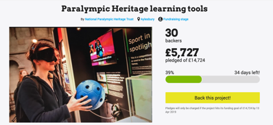 screenshot of NPHT crowdfund appeal for learning resources at the Heritage Centre