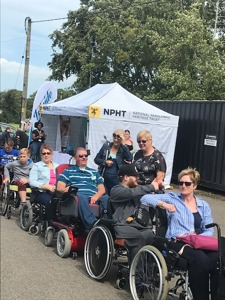 NPHT pop up museum at the World Record Attempt of the longest line of wheelchairs at Canterbury RFC