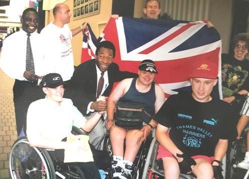 Pele with the group at Atlanta 1996 Paralympics