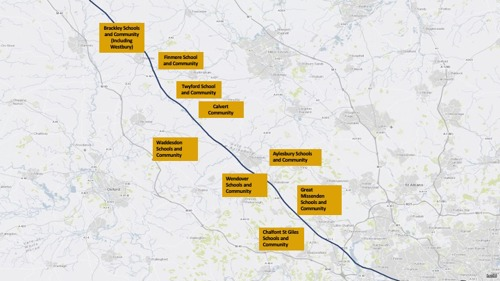HS2 phase 1 route map with labels of the Buckinghamshire schools and communities we will be working with to uncover and record stories