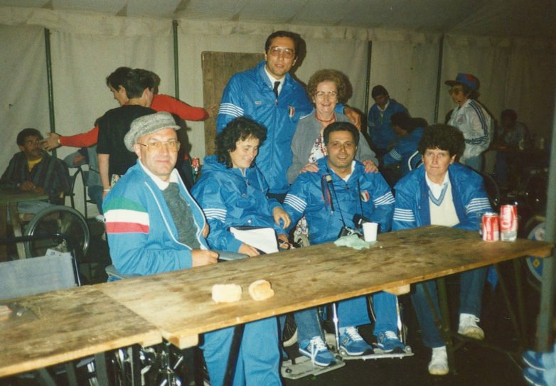 Mary Brennan with the Italian Team at Stoke Mandeville International Games in 1978