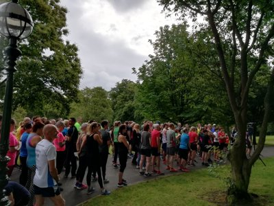 Runners at the parkrun celebration at Cliffe Castle