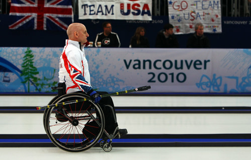 Michael McCreadie competing in wheelchair curling at the Vancouver 2010 Paralympics