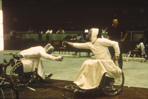 Terry Willett fencing on his way to winning gold at the Toronto 1976 Paralympics