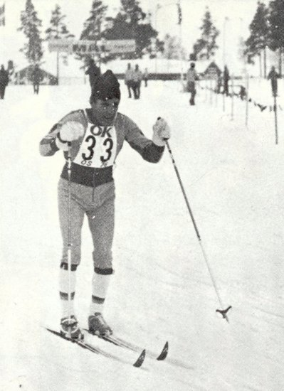 Newspaper clipping of a competitor at the Ornskoldsvik 1976 Winter Games