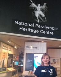 Vicky Hope-Walker standing at the entrance to the National Paralympic Heritage Centre
