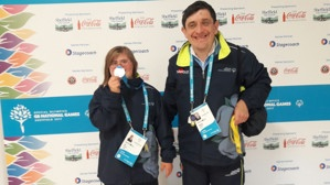 Ella Curtis and Stephen Thorne with their winning medals at the GB Special Olympic Games