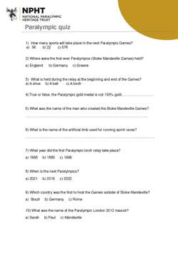 KS2 Paralympics Quiz activity sheet