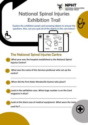Family trail for the exhibition displays at the National Spinal Injuries Centre