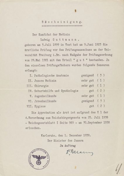 Letter to Ludwig Guttmann preventing him from practicing medicine in Germany in 1938